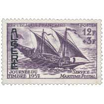 Algérie - Journée du Timbre 1957 service maritime postal