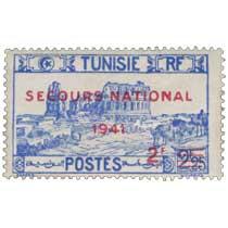 Tunisie - type amphithéâtre d'El Djem surcharge rouge Secours national