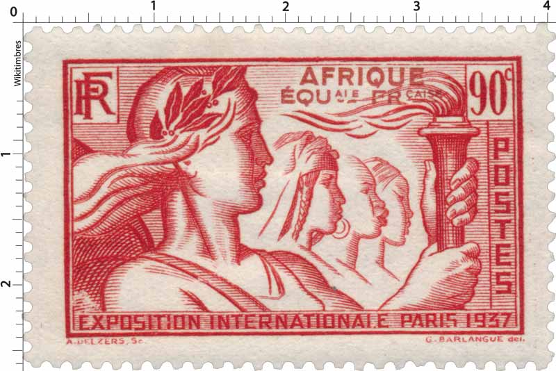 1937 Exposition internationale Paris AFRIQUE EQUale FRçaise