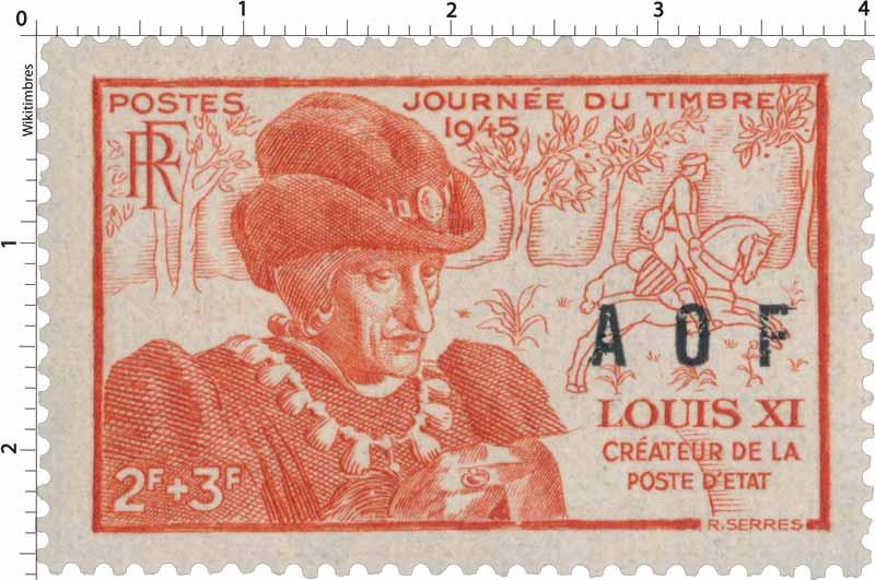 1945 Journée du timbre Louis XI Créateur de la poste d'état