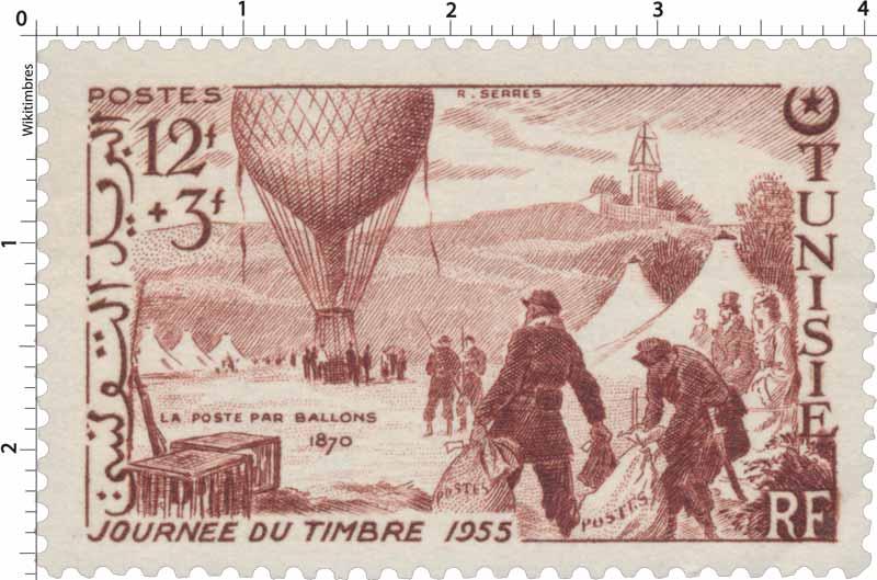 JOURNÉE DU TIMBRE 1955 LA POSTE PAR BALLONS 1870