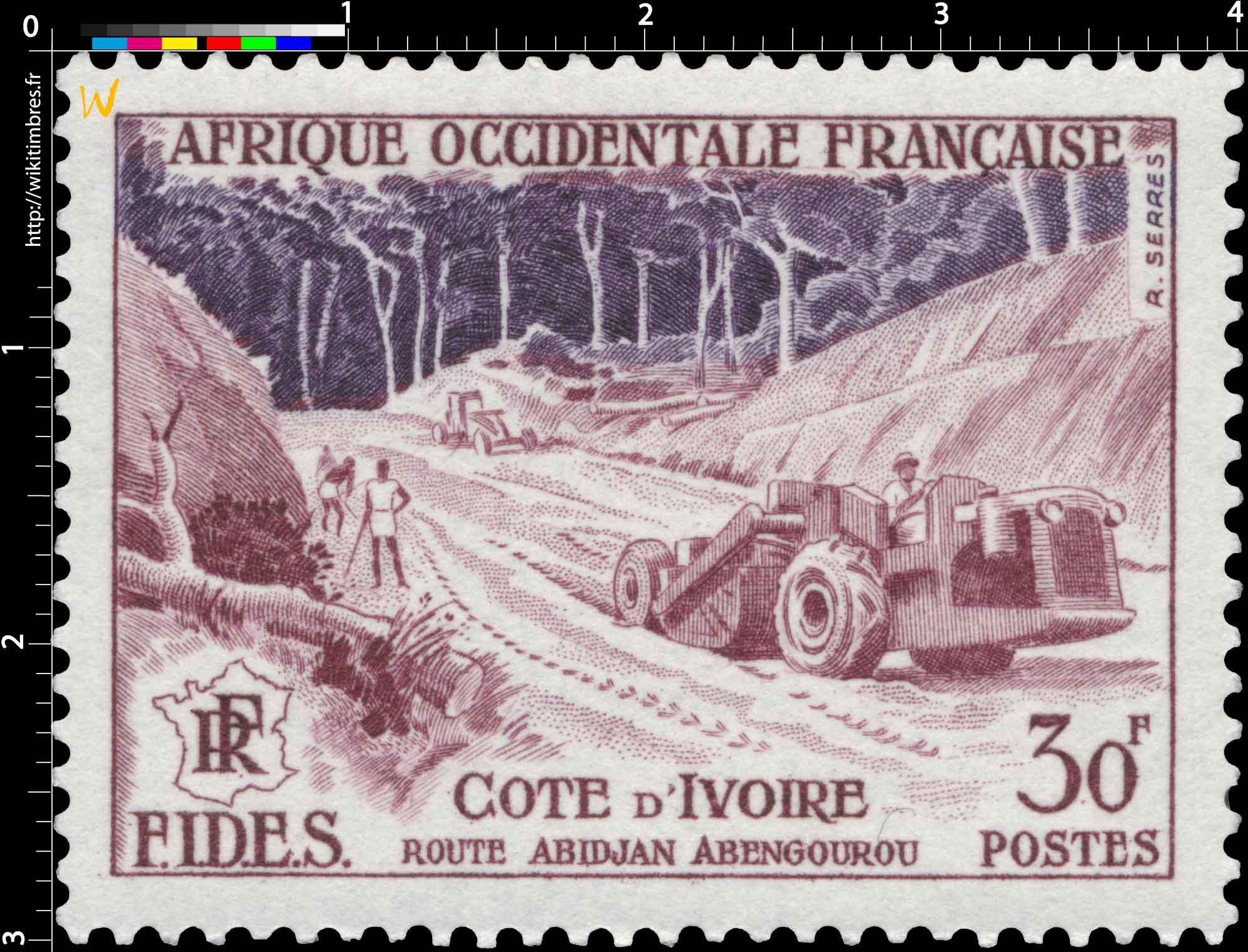 Afrique Occidentale Française - F.I.D.E.S. - Route Abidjan Abengourou Côte d'Ivoire