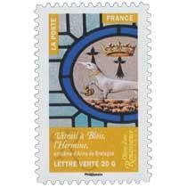 2014 Objets d'art  –  Renaissance en France  –  Vitrail à Blois, l'Hermine, emblème d'Anne de Bretagne