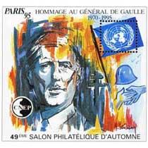 95 Hommage au général de Gaulle 1970 - 1995 49e Salon philatélique d'automne Paris CNEP