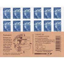 Carnet de 12 TVP bleu Marianne de l'Europe - nouvelle couverture Postexport 2012
