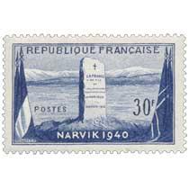 LA FRANCE A SES FILS ET A LEURS FRÈRES D'ARMES TOMBES GLORIEUSEMENT EN NORVÈGE NARVIK 1940