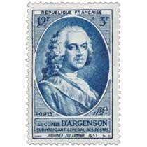 LE COMTE D'ARGENSON SURINTENDANT GENERAL DES POSTES 1743-1757 JOURNÉE DU TIMBRE 1953