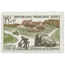 JOURNÉE DU TIMBRE 1958 DISTRIBUTION POSTALE MOTORISÉE