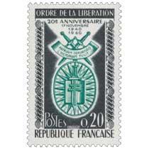 ORDRE DE LA LIBÉRATION 20e ANNIVERSAIRE 17 NOVEMBRE 1940-1960 PATRIAM SERVANDO VICTORIAM TULIT