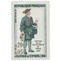 JOURNÉE DU TIMBRE 1961 FACTEUR DE LA PETITE POSTE DE PARIS 1760