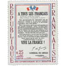 1964 - XXe ANNIVERSAIRE DE LA LIBÉRATION A TOUS LES FRANÇAIS… VIVE LA FRANCE !