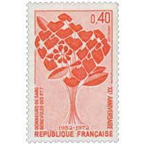 1972 DONNEURS DE SANG BÉNÉVOLES DES P.T.T XXE ANNIVERSAIRE 1952-1972