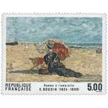 1987 Femme à l'ombrelle E. BOUDIN (1824-1898)