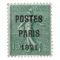 1921 POSTES PARIS - type semeuse lignée / surchargé