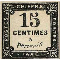 CHIFFRE TAXE 15 Centimes à percevoir