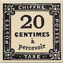 CHIFFRE TAXE 20 Centimes à percevoir