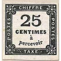 CHIFFRE TAXE 25 Centimes à percevoir
