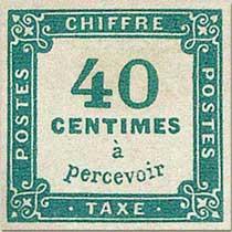 CHIFFRE TAXE 40 Centimes à percevoir