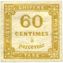 CHIFFRE TAXE 60 Centimes à percevoir
