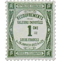 RECOUVREMENTS VALEURS IMPAYÉES 1CME LOI DE FINANCES du 26 janviers 1892 Art 29