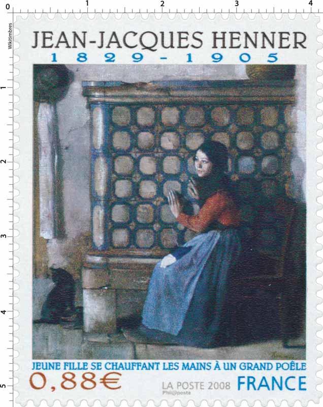 JEAN-JACQUES HENNER 1829-1905 JEUNE FILLE SE CHAUFFANT LES MAINS À UN GRAND POÊLE