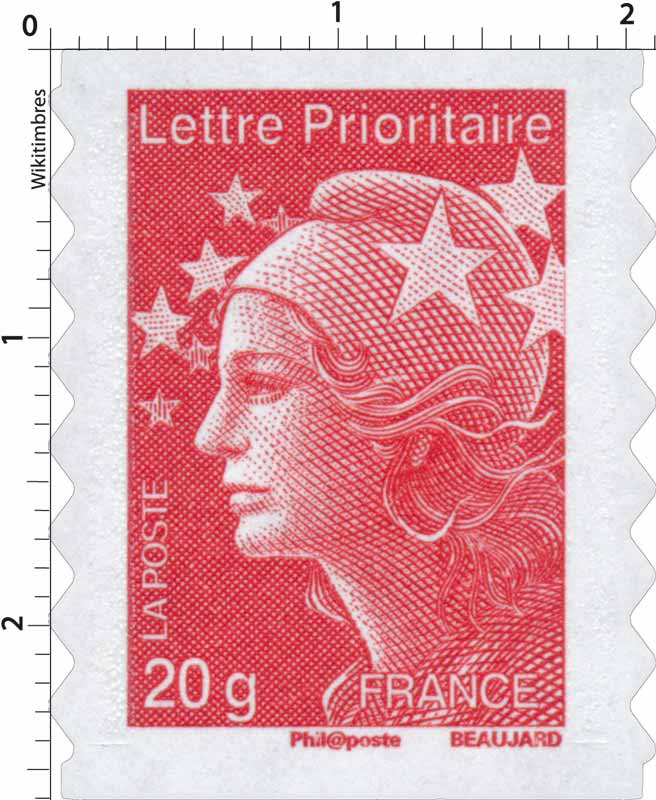 Lettre Prioritaire - type Marianne de Beaujard