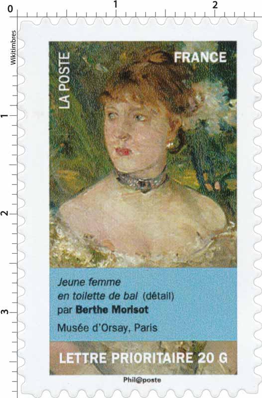 jeune femme en toilette de bal (détail) par Berthe Morisot, musée d'Orsay, Paris