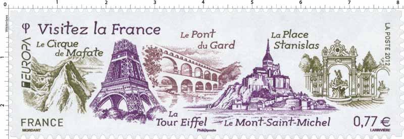 2012 VISITEZ LA France a place Stanislas, le Mont Saint-Michel, la Tour Eiffel, le Pont du Gard et le Cirque de Mafate EUROPA