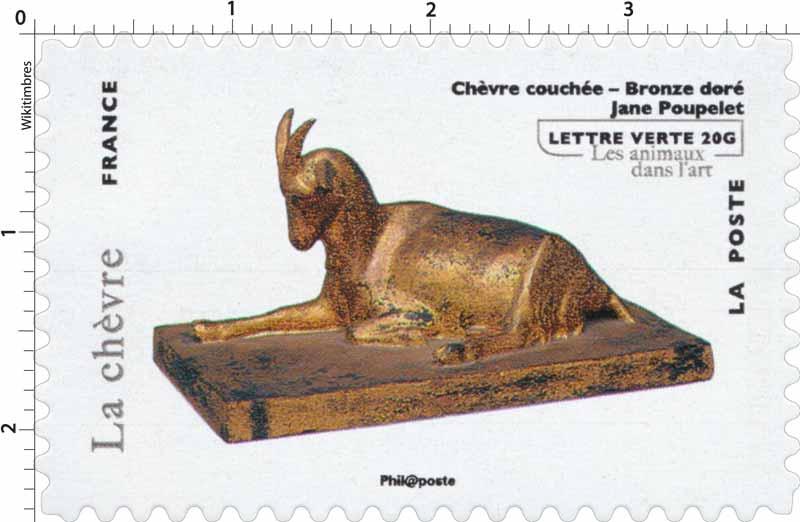 Chèvre couchée - Bronze doré - Jane Poupelet- les animaux dans l'art