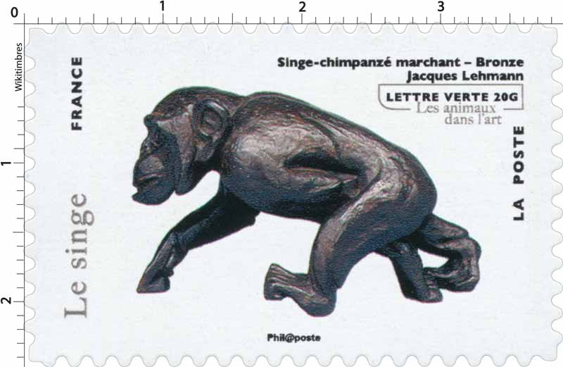 Singe chimpanzé marchant - Bronze - Jacques Lehmann - les animaux dans l'art