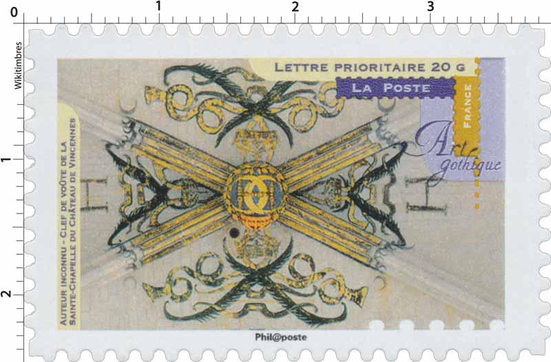 timbre 2013 art gothique clef de vo te de la sainte chapelle du chateau de vincennes. Black Bedroom Furniture Sets. Home Design Ideas