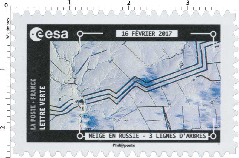 2018  ESA - 16 Février 2017 - Neige en Russie - 3 lignes d'arbres