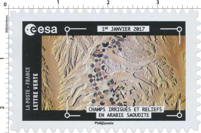 2018  ESA - 1er Janvier 2017 - Champs irrigués et reliefs en Arabie Saoudite
