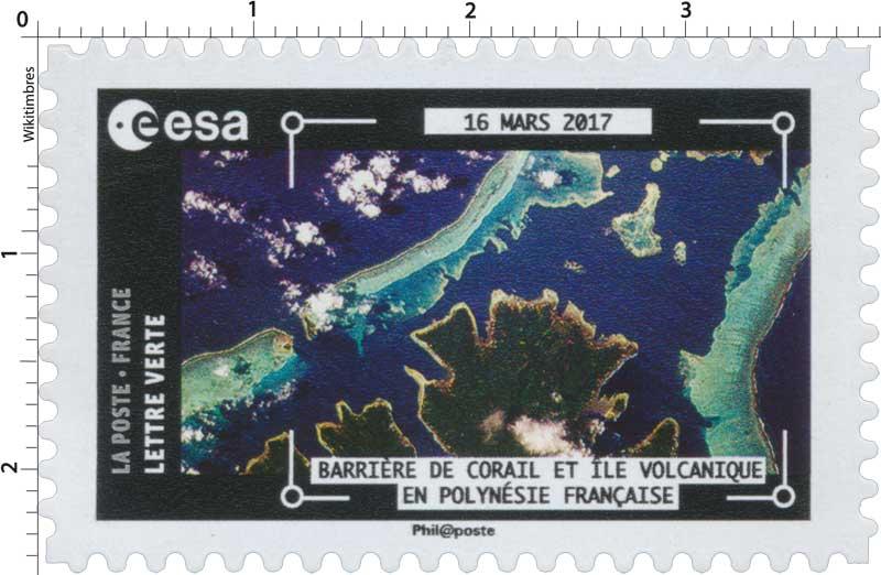 2018  ESA - 16 Mars 2017 - Barrière de corail et île volcanique en Polynésie française