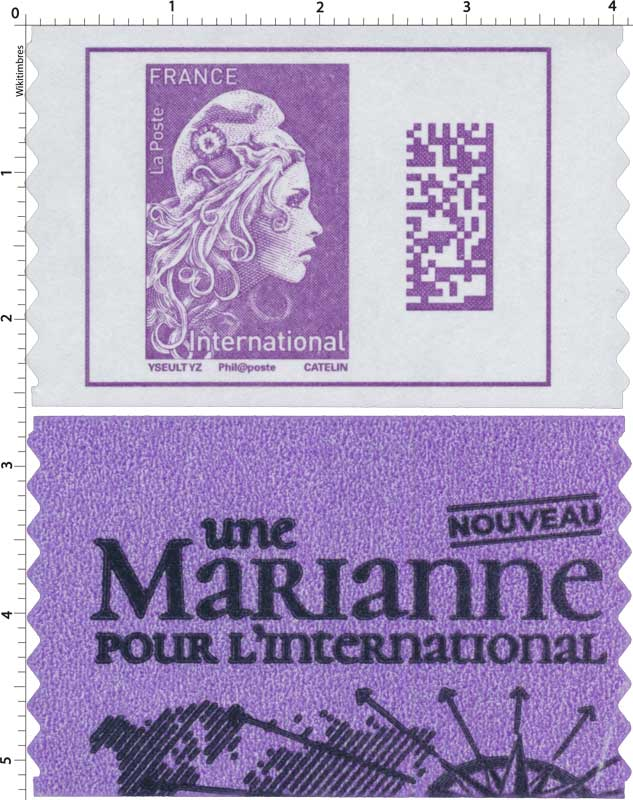 2019  Type Marianne l'engagée d'Yseult - International - Code Datamatrix