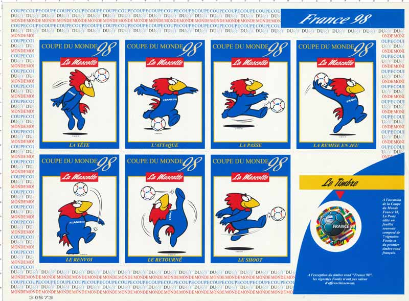 Timbre france 98 coupe du monde wikitimbres - Coupe du monde foot 1998 ...
