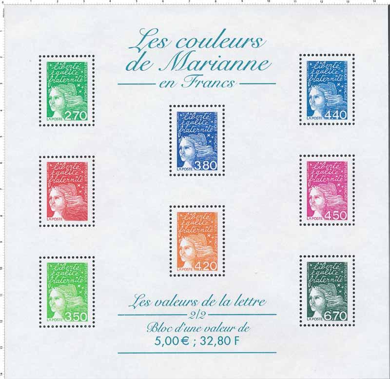 Les couleurs de Marianne en Francs
