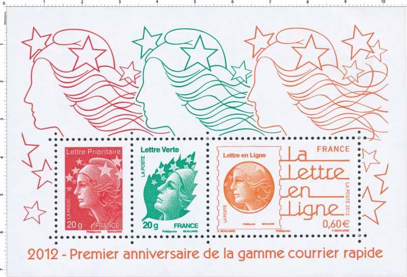 2012 Premier anniversaire de la gamme courrier rapide
