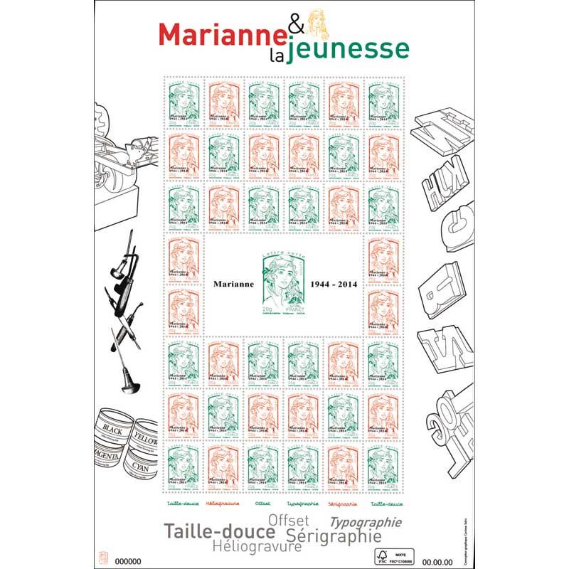 2014 Feuille Marianne & la jeunesse multitechnique surchargée en typo