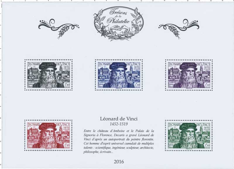 Trésors de la Philatélie 2016 - LÉONARD DE VINCI 1452-1519
