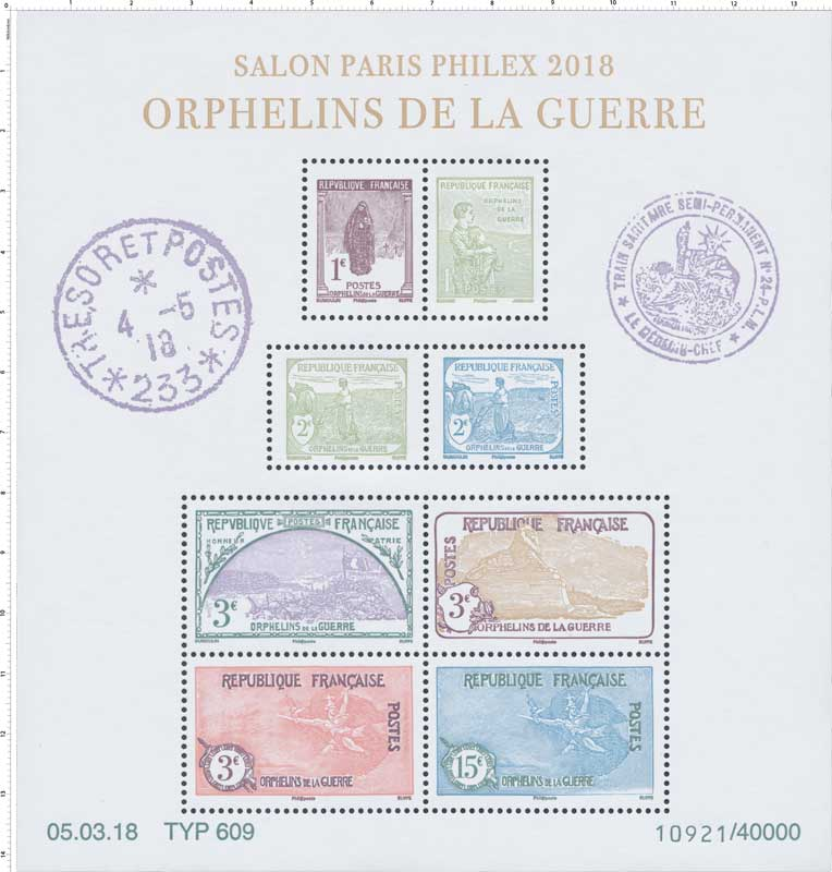 2018 SALON PARIS PHILEX  - ORPHELINS DE LA GUERRE