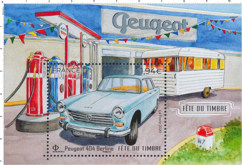 2020 Fête du Timbre  Peugeot 404 Berline