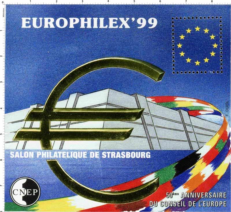 99 Europhilex Salon philatélique de Strasbourg 50e anniversaire du conseil de l'Europe CNEP