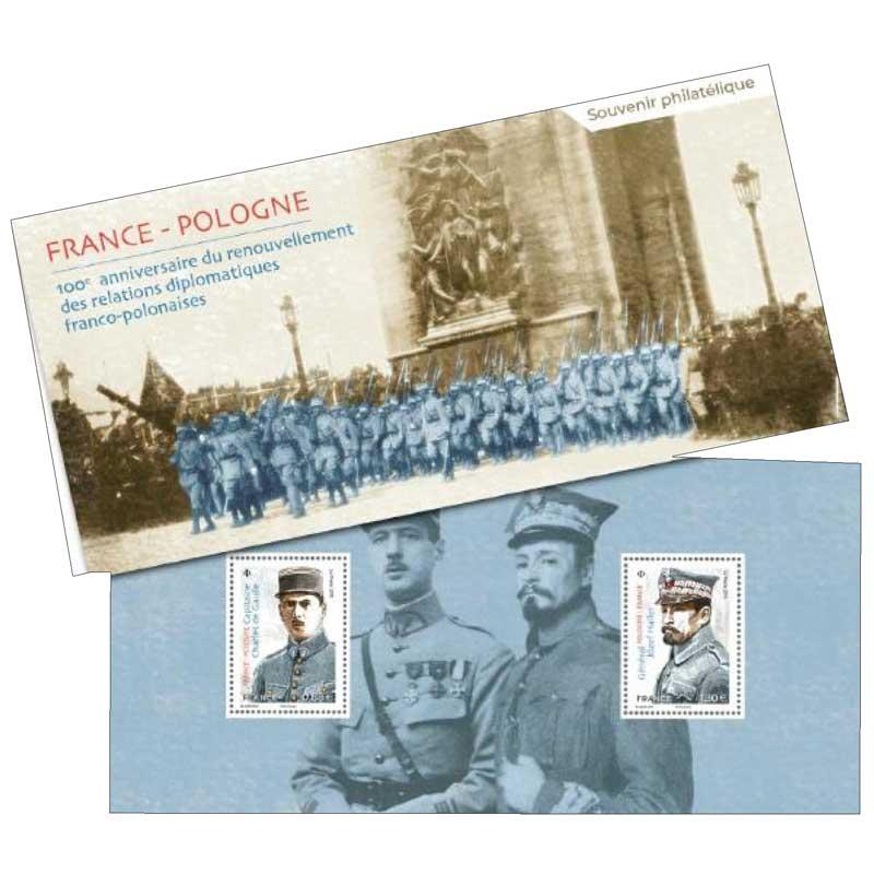 2019 Souvenir philatélique : FRANCE- POLOGNE 100e anniversaire du renouvellement des relations diplomatiques franco-polonaises