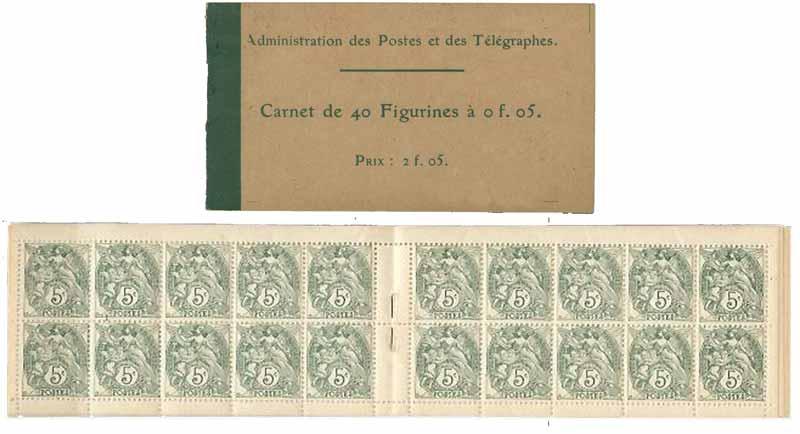 Administration des Postes et des télégraphes Carnet de 40 Figurines