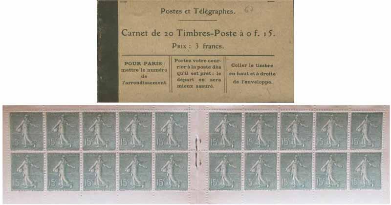Postes et télégraphes Carnet de 20 Timbres-Poste