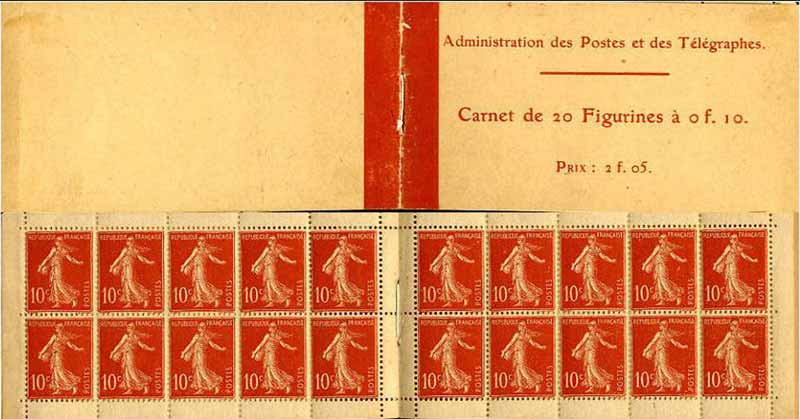 Administration des Postes et des télégraphes Carnet de 20 Figurines