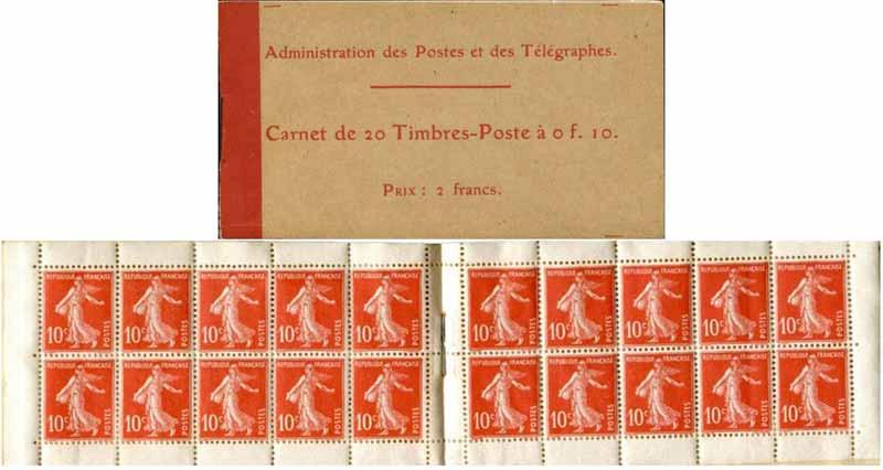 Administration des Postes et des télégraphes Carnet de 20 Timbres-Poste