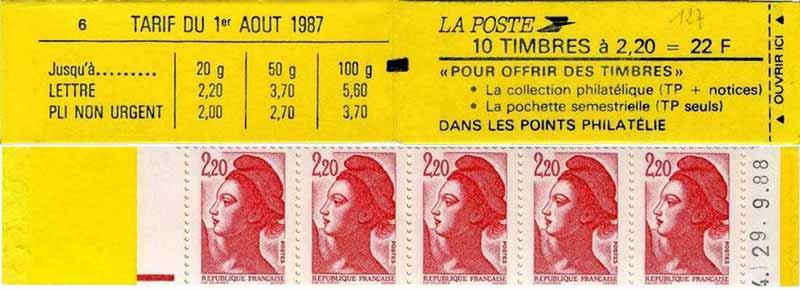 Pour offrir des timbres tarif du 1er aout 1987