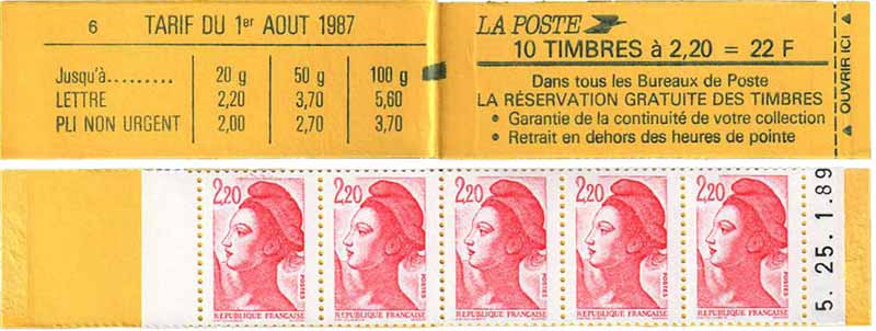 tarif du 1er aout 1987 réservation gratuite de timbres